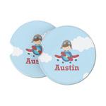 Airplane & Pilot Sandstone Car Coasters (Personalized)