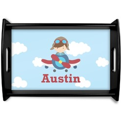 Airplane & Pilot Black Wooden Tray (Personalized)