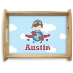 Airplane & Pilot Natural Wooden Tray - Large (Personalized)
