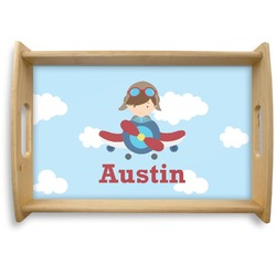 Airplane & Pilot Natural Wooden Tray (Personalized)