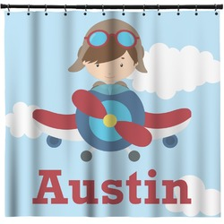 Airplane & Pilot Shower Curtain (Personalized)