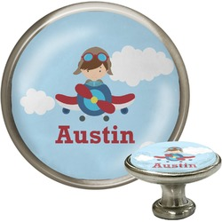 Airplane & Pilot Cabinet Knob (Silver) (Personalized)