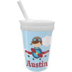 Airplane & Pilot Sippy Cup with Straw (Personalized)