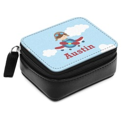 Airplane & Pilot Small Leatherette Travel Pill Case (Personalized)