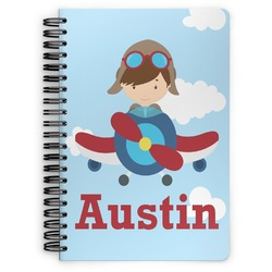 Airplane & Pilot Spiral Bound Notebook (Personalized)