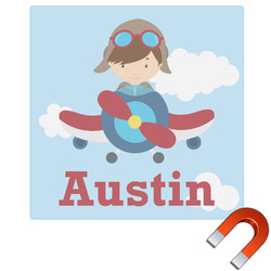Airplane & Pilot Square Car Magnet (Personalized)