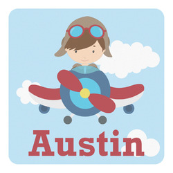 Airplane & Pilot Square Decal - Medium (Personalized)