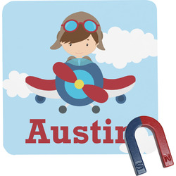 Airplane & Pilot Square Fridge Magnet (Personalized)