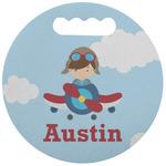 Airplane & Pilot Stadium Cushion (Round) (Personalized)