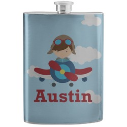Airplane & Pilot Stainless Steel Flask (Personalized)