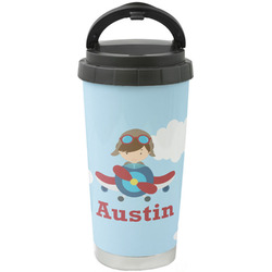 Airplane & Pilot Stainless Steel Travel Mug (Personalized)