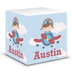 Airplane & Pilot Sticky Note Cube (Personalized)