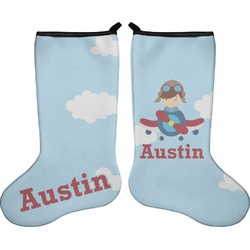 Airplane & Pilot Holiday Stocking - Double-Sided - Neoprene (Personalized)