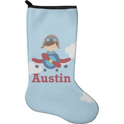 Airplane & Pilot Christmas Stocking - Neoprene (Personalized)