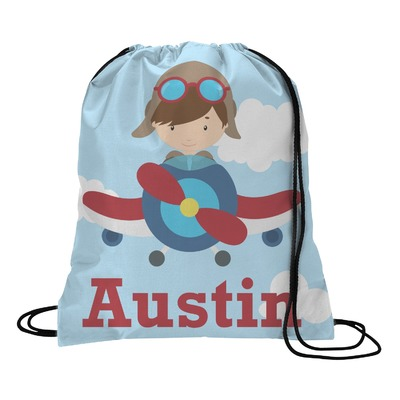 Airplane & Pilot Drawstring Backpack (Personalized)