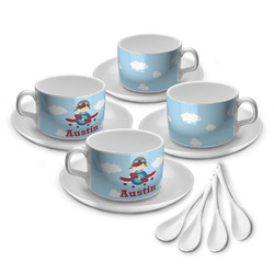 Airplane & Pilot Tea Cup - Set of 4 (Personalized)