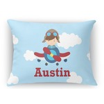 Airplane & Pilot Rectangular Throw Pillow Case (Personalized)