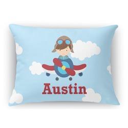 Airplane & Pilot Rectangular Throw Pillow Case (Personalized)