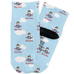 Airplane & Pilot Toddler Ankle Socks (Personalized)