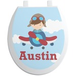 Airplane & Pilot Toilet Seat Decal (Personalized)