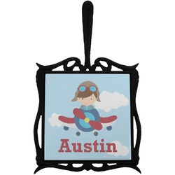 Airplane & Pilot Trivet with Handle (Personalized)