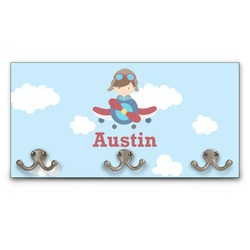 Airplane & Pilot Wall Mounted Coat Rack (Personalized)