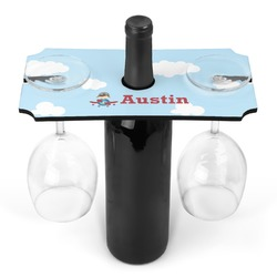 Airplane & Pilot Wine Bottle & Glass Holder (Personalized)