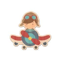 Airplane & Pilot Genuine Wood Sticker (Personalized)