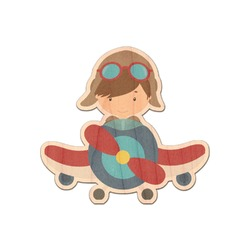 Airplane & Pilot Genuine Maple or Cherry Wood Sticker (Personalized)