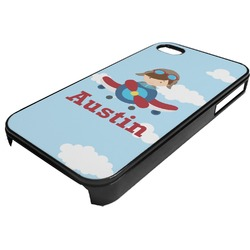 Airplane & Pilot Plastic 4/4S iPhone Case (Personalized)