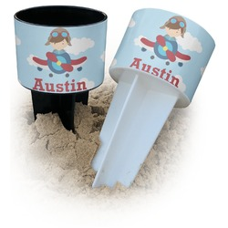 Airplane & Pilot Beach Spiker Drink Holder (Personalized)