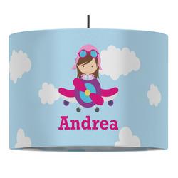Airplane & Girl Pilot Drum Pendant Lamp (Personalized)