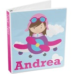 Airplane & Girl Pilot 3-Ring Binder (Personalized)