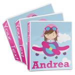 Airplane & Girl Pilot 3-Ring Binder (Personalized)