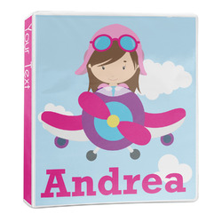 Airplane & Girl Pilot 3-Ring Binder - 1 inch (Personalized)