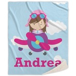 Airplane & Girl Pilot Sherpa Throw Blanket (Personalized)