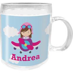 Airplane & Girl Pilot Acrylic Kids Mug (Personalized)