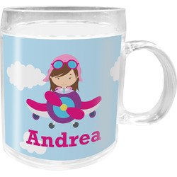 Airplane & Girl Pilot Acrylic Kids Mug (Personalized)