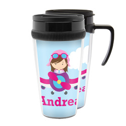 Airplane & Girl Pilot Acrylic Travel Mugs (Personalized)