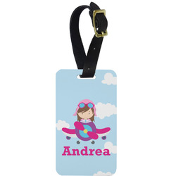 Airplane & Girl Pilot Aluminum Luggage Tag (Personalized)
