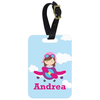 Airplane & Girl Pilot Metal Luggage Tag w/ Name or Text