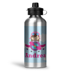 Airplane & Girl Pilot Water Bottle - Aluminum - 20 oz (Personalized)