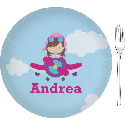 """Airplane & Girl Pilot 8"""" Glass Appetizer / Dessert Plates - Single or Set (Personalized)"""