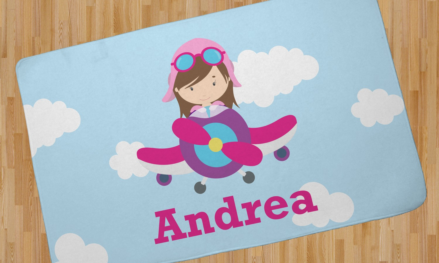 Airplane Girl Pilot Area Rug Personalized Youcustomizeit