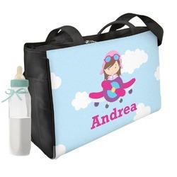 Airplane & Girl Pilot Diaper Bag w/ Name or Text