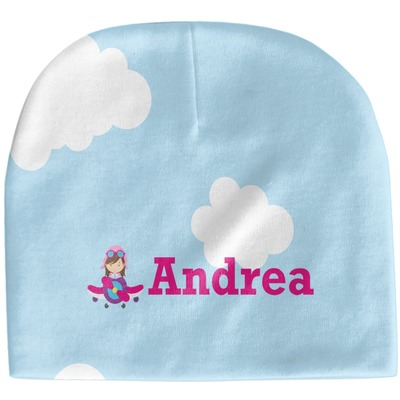 Airplane & Girl Pilot Baby Hat (Beanie) (Personalized)