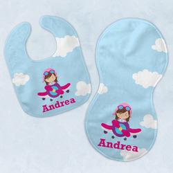 Airplane & Girl Pilot Baby Bib & Burp Set w/ Name or Text