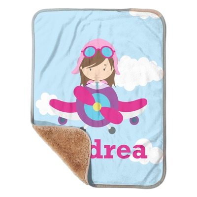 """Airplane & Girl Pilot Sherpa Baby Blanket 30"""" x 40"""" (Personalized)"""