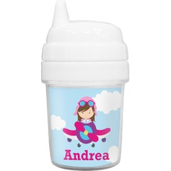 Airplane & Girl Pilot Baby Sippy Cup (Personalized)