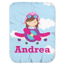 Airplane & Girl Pilot Baby Swaddling Blanket (Personalized)
